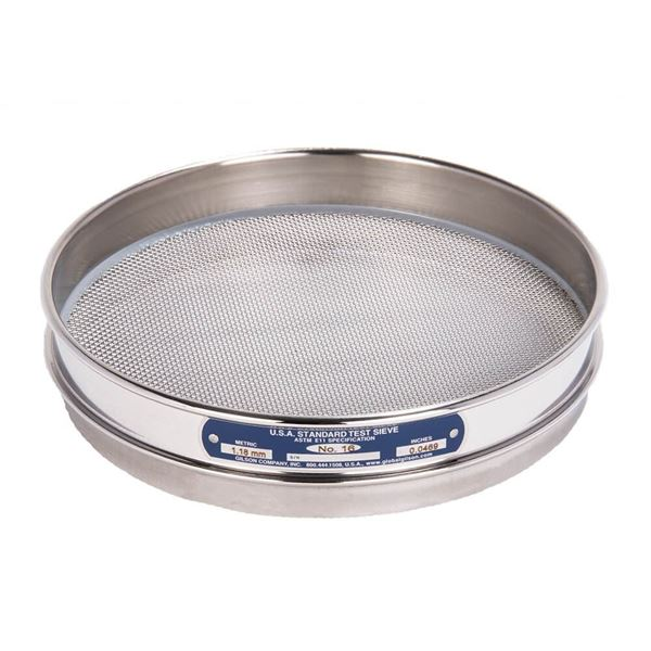 """8"""" Sieve, All Stainless, Half Height, No. 16"""