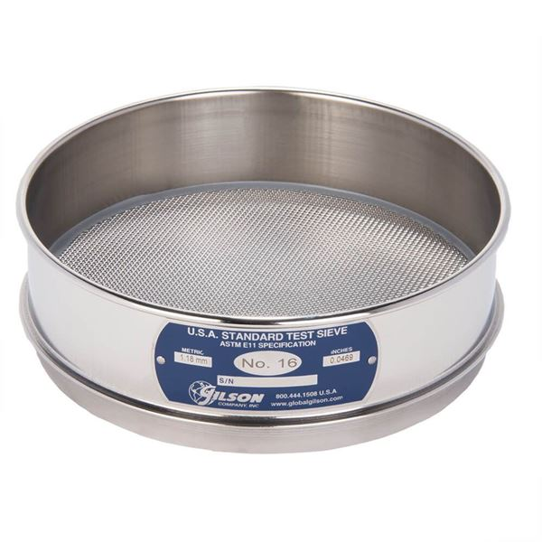 """8"""" Sieve, All Stainless, Full Height, No. 16"""