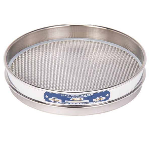 """8"""" Sieve, All Stainless, Half Height, No. 18"""