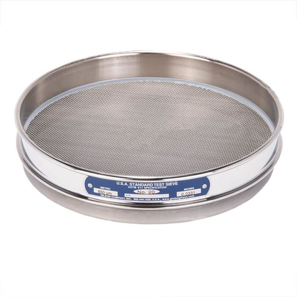 """8"""" Sieve, All Stainless, Half Height, No. 20"""