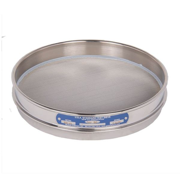 """8"""" Sieve, All Stainless, Half Height, No. 30"""