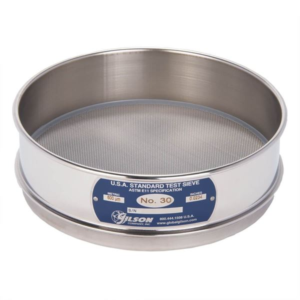 """8"""" Sieve, All Stainless, Full Height, No. 30"""