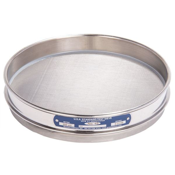 """8"""" Sieve, All Stainless, Half Height, No. 45"""