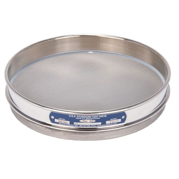 """8"""" Sieve, All Stainless, Half Height, No. 50"""