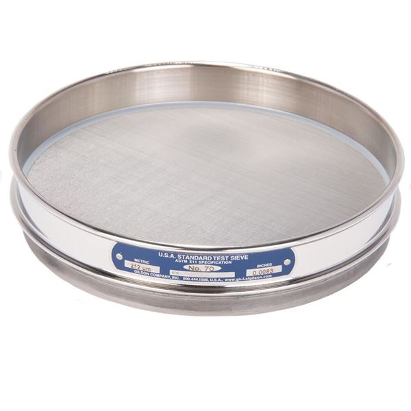 """8"""" Sieve, All Stainless, Half Height, No. 70 with Backing Cloth"""