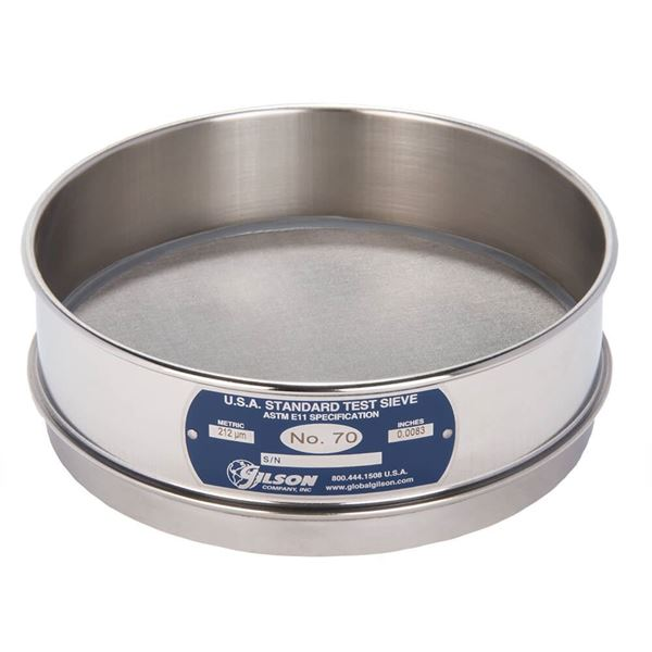"""8"""" Sieve, All Stainless, Full Height, No. 70 with Backing Cloth"""