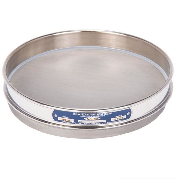 """8"""" Sieve, All Stainless, Half Height, No. 80 with Backing Cloth"""
