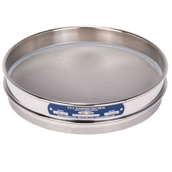 """8"""" Sieve, All Stainless, Half Height, No. 100 with Backing Cloth"""
