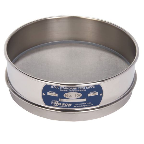 """8"""" Sieve, All Stainless, Full Height, No. 100 with Backing Cloth"""