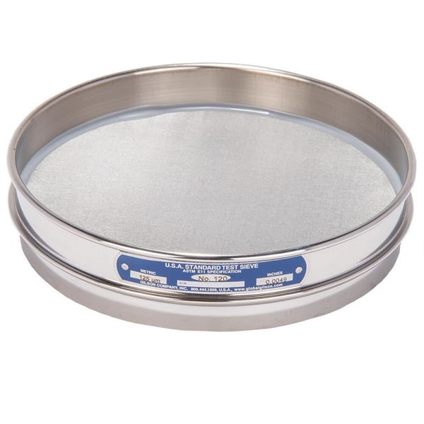 """8"""" Sieve, All Stainless, Half Height, No. 120 with Backing Cloth"""
