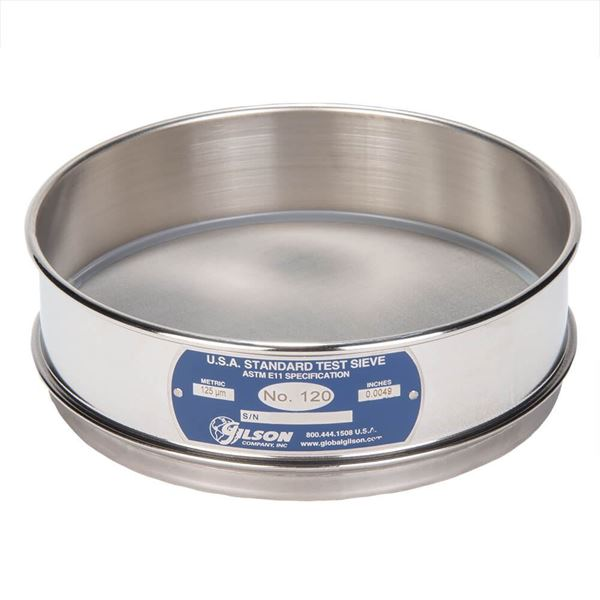 """8"""" Sieve, All Stainless, Full Height, No. 120 with Backing Cloth"""
