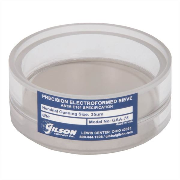 3in Diameter No. 450 (32µm) Acrylic Frame Electroformed Test Sieve