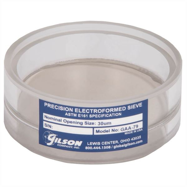 3in Diameter 30µm Acrylic Frame Electroformed Test Sieve