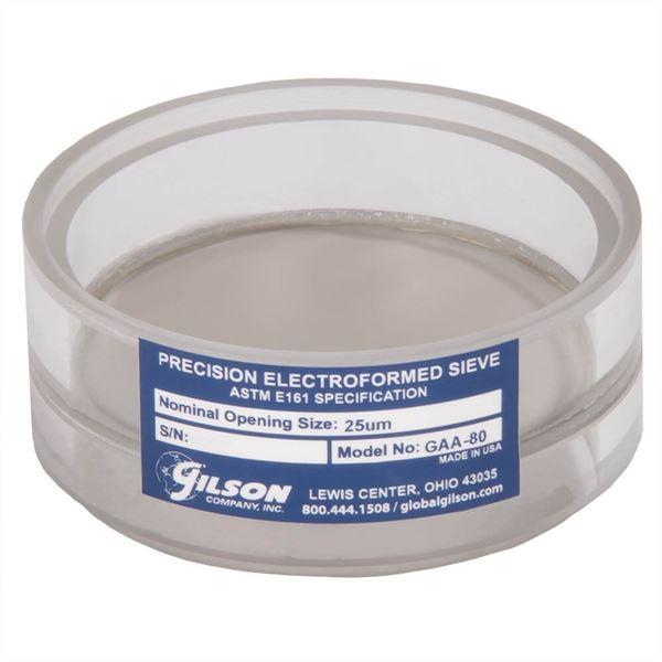 3in Diameter No. 500 (25µm) Acrylic Frame Electroformed Test Sieve