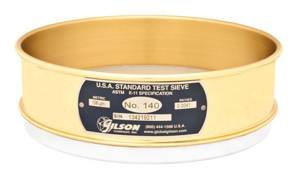 """8"""" Sieve, Brass/Stainless, Full Height, No. 450 with Backing Cloth"""