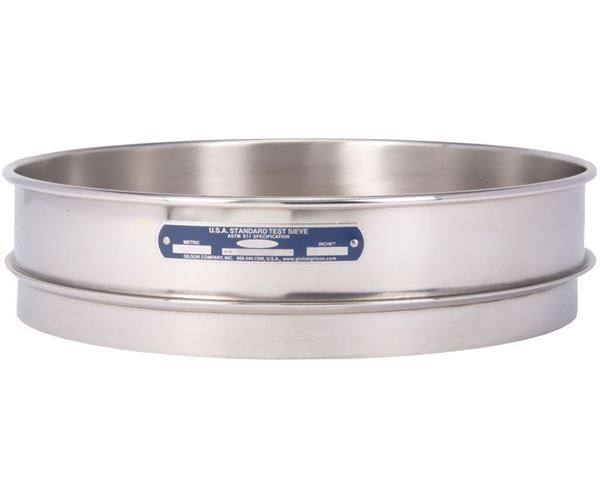 """12"""" Sieve, All Stainless, Intermediate Height, No. 500 with Backing Cloth"""