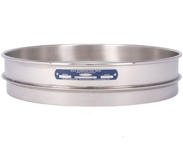 """12"""" Sieve, All Stainless, Half Height, No. 500 with Backing Cloth"""