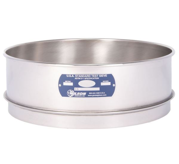 """12"""" Sieve, All Stainless, Full Height, No. 635 with Backing Cloth"""